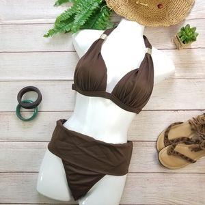 Brown M 2 Piece Swimsuit Padded Bikini Fold-Over